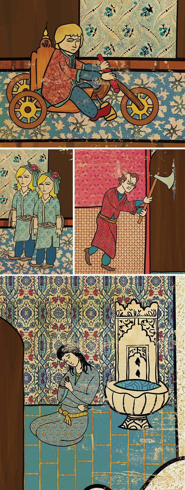 Фото №7 - Художник воссоздал культовые сцены из «Терминатора», «Чужого» и других фильмов в стиле восточных миниатюр