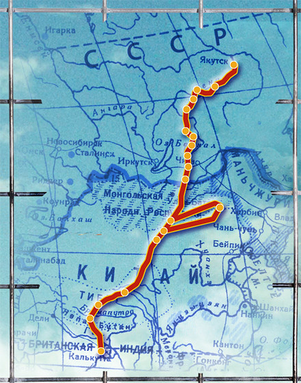 Карта побега из ГУЛАГа в Тибет
