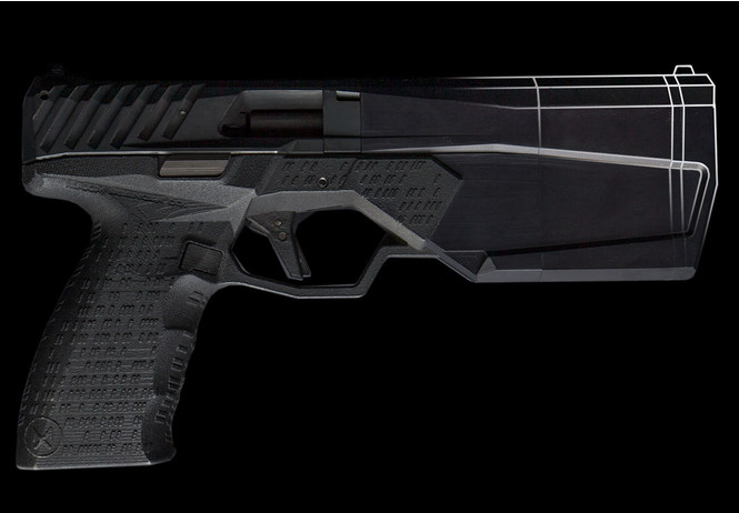 реклама пистолета встроенным глушителем стиле кровавого шутера видео