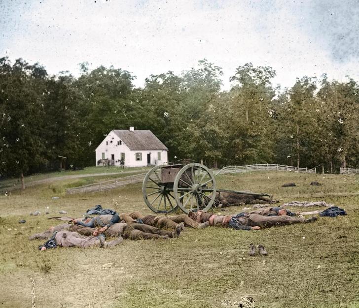 Фото №1 - Мертвые солдаты армии Юга США: цветные фото, от которых бросает в дрожь