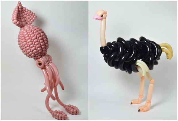 Фото №1 - Японец сворачивает невообразимые скульптуры животных из воздушных шаров