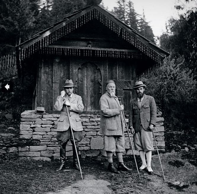Юрий, Николай и Святослав  Рерихи. Наггар, 1933 год