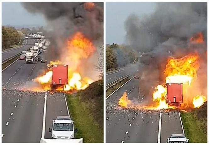Смотри, как взрывается грузовик, полный аэрозольных баллончиков (видео!)