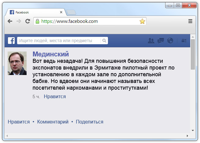 Фейсбук Владимира Мединского