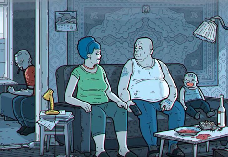 Фото №1 - Художник сделал российскую «артхаусную» версию «Симпсонов»
