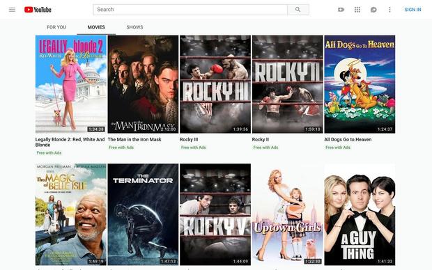 Фото №1 - В YouTube появился бесплатный кинотеатр (но с рекламой)