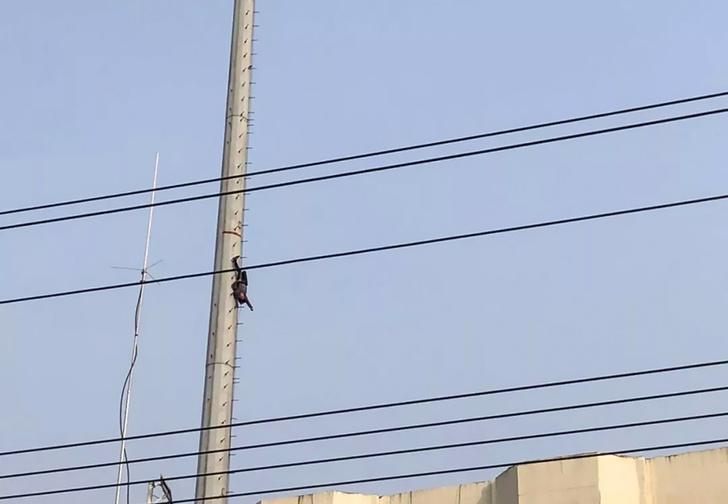 Фото №1 - В Китае пьяный мужчина решил стать Человеком-пауком и завис на огромной высоте вниз головой (фото)