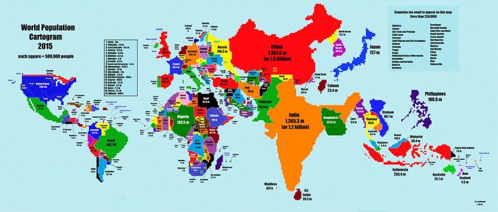 Фото №2 - Вот как выглядела бы карта мира, если бы размер стран зависел от числа жителей