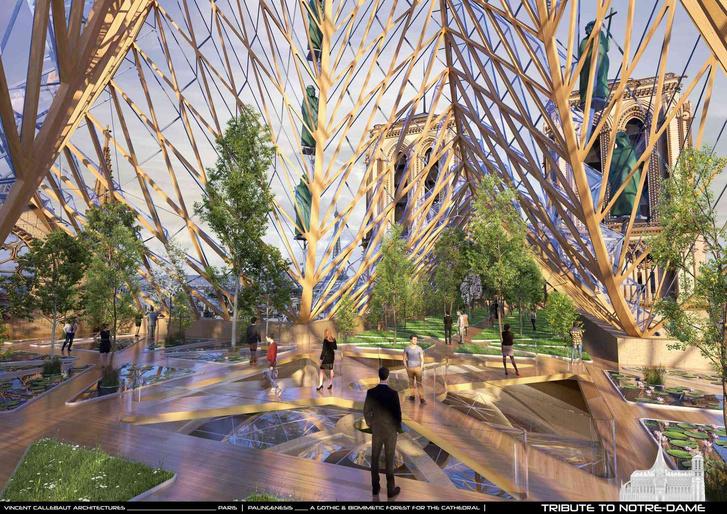 Фото №4 - Как предлагают восстановить Нотр-Дам. Стеклопластиковая крыша, солнечные панели, сады и футуризм (фото)