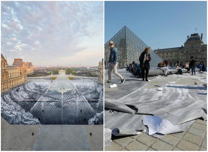 Фото №1 - Туристы всего за 6 часов уничтожили оптическую иллюзию вокруг Пирамиды Лувра