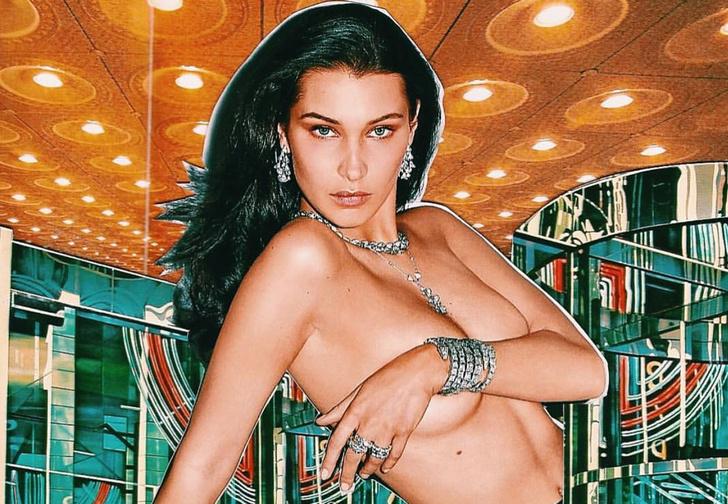 Фото №1 - Полюбуйся на модель Беллу Хадид в микрошортах на голое тело