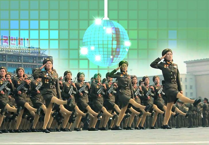 Фото №1 - Незабываемо смехотворное зрелище: армия Северной Кореи марширует под Bee Gees