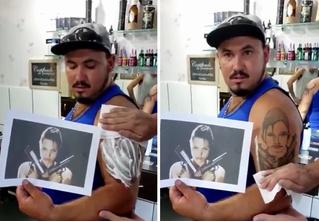 Парню вместо реалистичного портрета сделали татуировку «упоротой» Лары Крофт (видео)