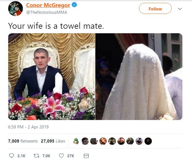 Фото №3 - Конор Макгрегор снова напал на Хабиба Нурмагомедова в «Твиттере» и назвал его жену «полотенцем»