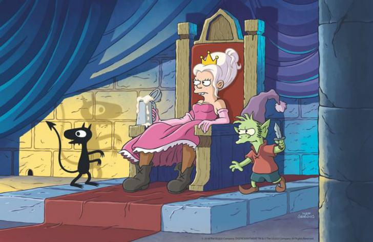 Фото №1 - Смотри скорее: первый полный трейлер «Разочарования» от создателя «Симпсонов» и «Футурамы»!