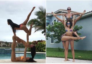 Девушки в бикини демонстрируют чудеса акробатической йоги! Очень сексуальные ВИДЕО