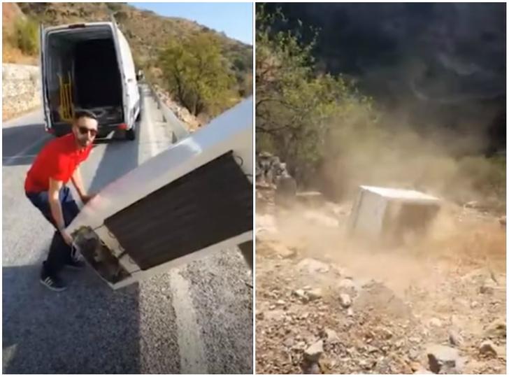 Фото №1 - Испанец хотел прославиться, сняв видео, как скидывает холодильник с обрыва, а получил штраф в 45 тысяч евро