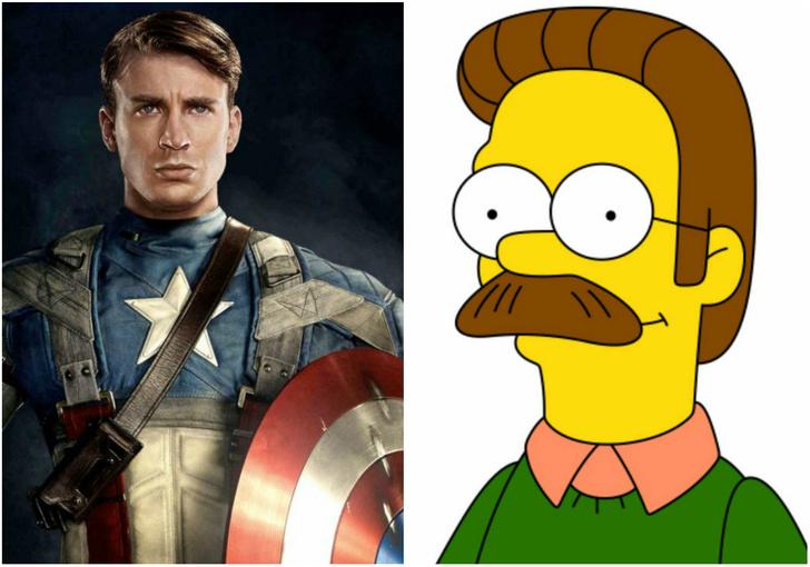 Фото №1 - Капитан Америка отрастил себе подозрительные усы, и Интернет обозвал его Недом Фландерсом!