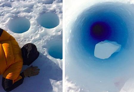 Ученые бросили в 90-метровую скважину кусок льда, чтобы послушать, с каким звуком он упадет. ВИДЕО