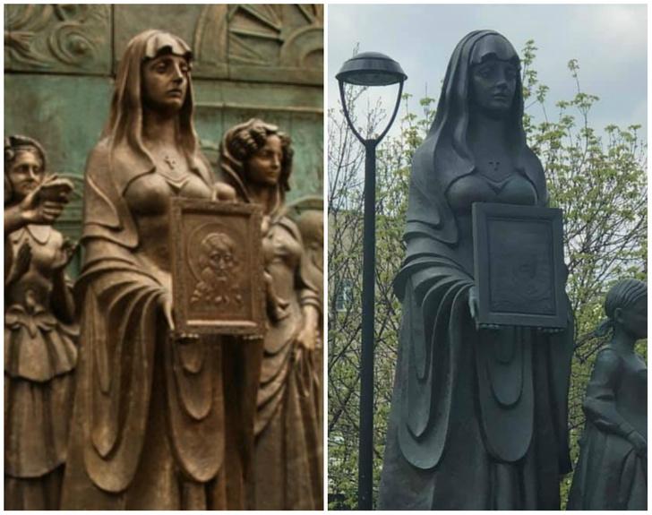 Фото №1 - Церетели уличили в клонировании: сравни памятник жене декабриста и жене ополченца