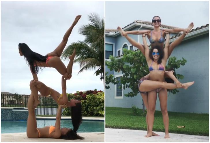 Фото №1 - Девушки в бикини демонстрируют чудеса акробатической йоги! Очень сексуальные ВИДЕО