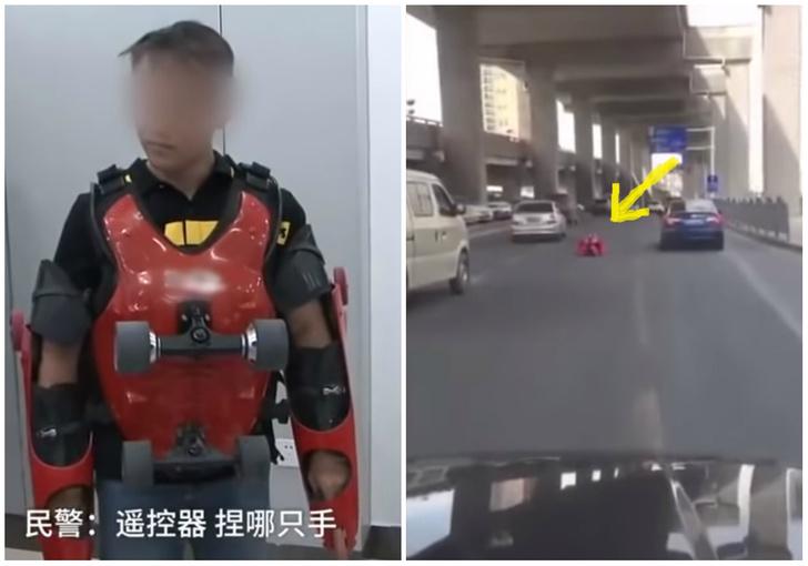 Фото №1 - Парень в самодельном электрокостюме на колесиках проехался по шоссе