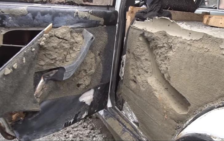 Фото №1 - В легковушку залили 5 (!) тонн бетона! Поедет или нет? Ответ — в этом ВИДЕО