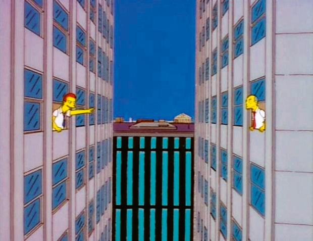 Работник одной из башен-близнецов  и Гомер