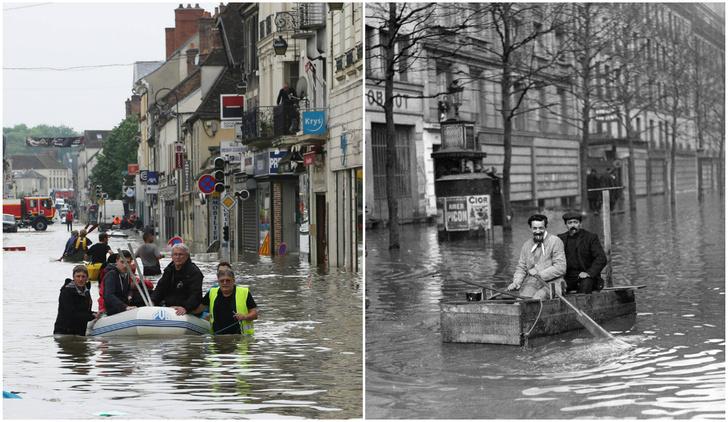 Фото №1 - Ошарашивающие фото потопа в Париже: сейчас и в 1910 году