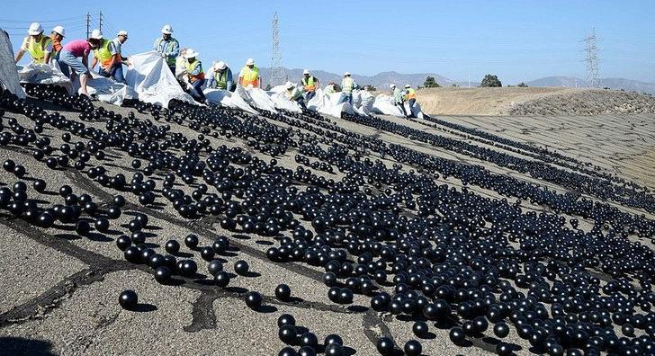 Фото №2 - История одной фотографии: 96 миллионов черных шаров в водохранилище, 2015 год