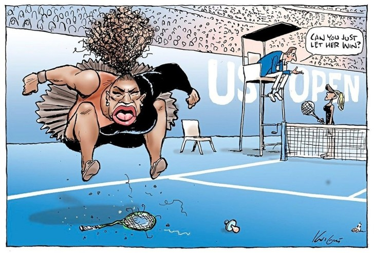 Фото №1 - СМИ вступаются за художника, которому угрожали расправой за карикатуру на Серену Уильямс
