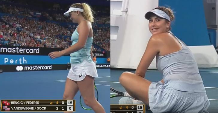 Фото №1 - Женщины-теннисистки покинули корт во время матча из-за увлеченности своих партнеров друг другом (ВИДЕО)