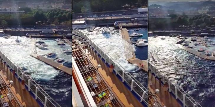 Фото №1 - Круизный лайнер волнами разрушил причал и потопил яхты. Видео!