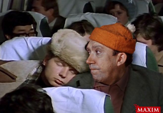 Никулин на пробах на роль «пассажир самолета»