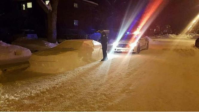Высделали нам вечер! Канадец разыграл полицию машиной изснега