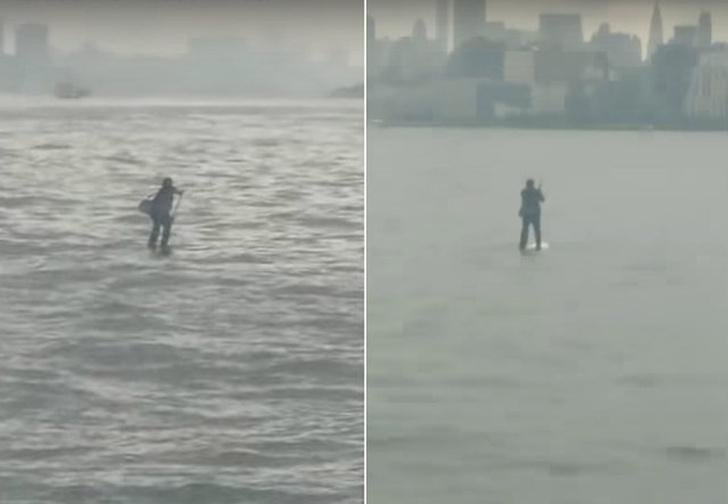 Фото №1 - Мужчина в деловом костюме идет по воде! Душеспасительное ВИДЕО