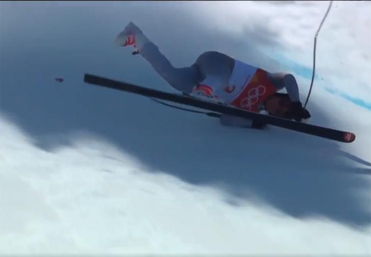 Фото №1 - Российский горнолыжник разбился при спуске на Олимпиаде. Спасибо, что живой!