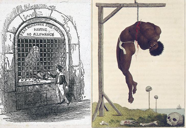 Долговая тюрьма Флит, Лондон, 1800год. Раб,  подвешенный за ребра, 1792год