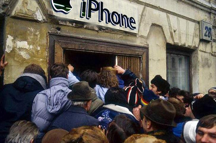 Фото №1 - Места в очереди за новым iPhone в России продают по 250 тысяч рублей