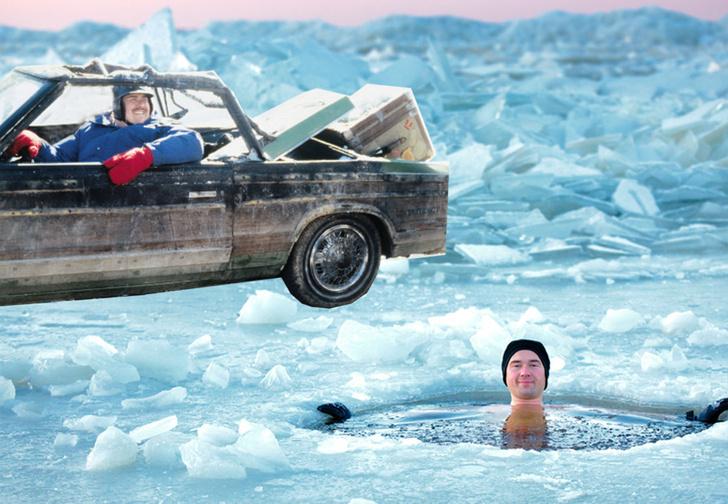 Фото №1 - У купавшихся в проруби жителей Красноярска угнали машину с ребенком