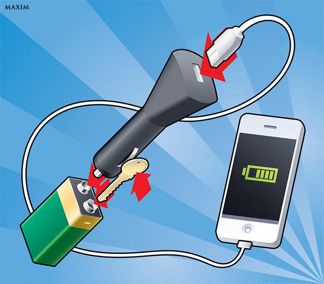 Заряжаем телефон от батарейки