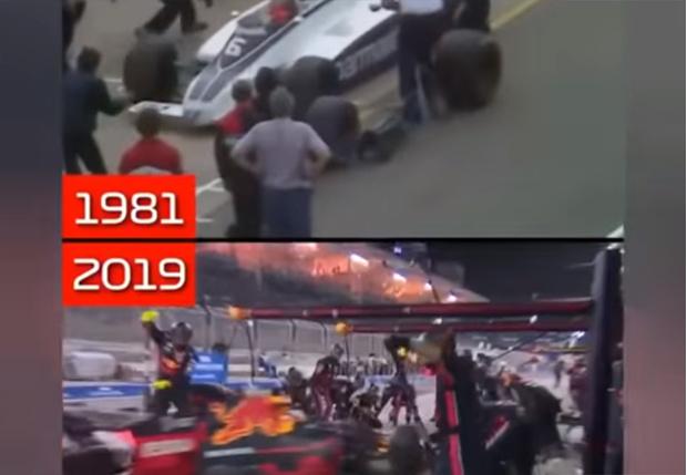 Фото №1 - Параллельный монтаж показывает, как за 38 лет изменилась работа на пит-стопах «Формулы-1» (видео)