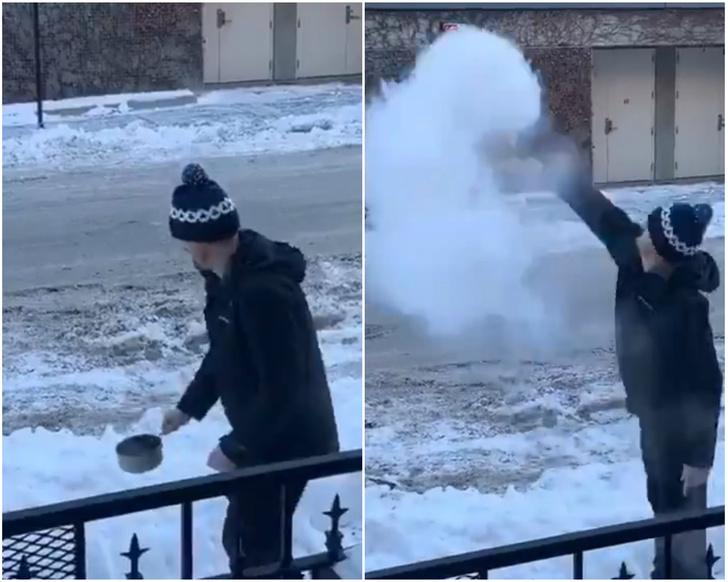 Фото №1 - Твит дня: кипяток испаряется в полете при рекордном морозе (видео)