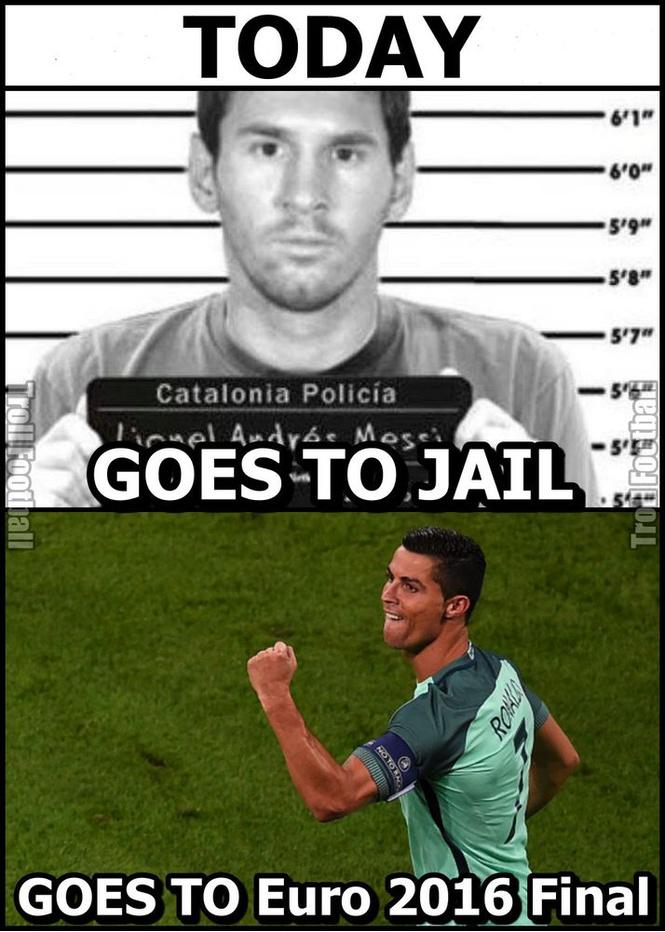 В тот день, когда Лео Месси пошел в тюрьму, Криштиану Роналду вышел в финал Евро