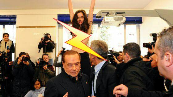 Фото №1 - Приходит, значит, Берлускони на выборы — а на него полуголая активистка как выскочит! (Оголтелое ВИДЕО)