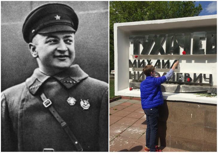 Фото №1 - Школьники в честь 9 Мая возложили цветы к памятнику Тухачевскому, расстрелянному в 1937 году