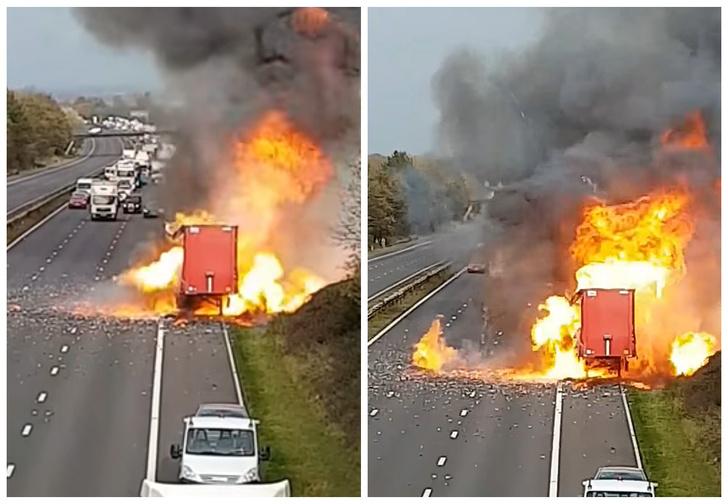 Фото №1 - Смотри, как взрывается грузовик, полный аэрозольных баллончиков (видео!)