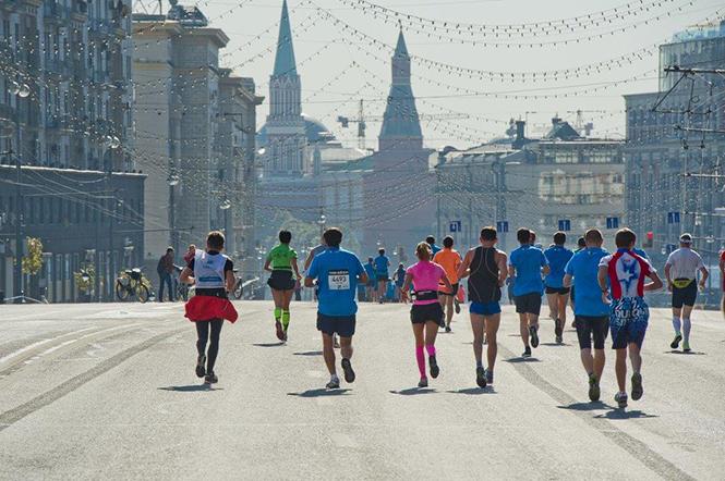 Московский Марафон, вид на город и участников