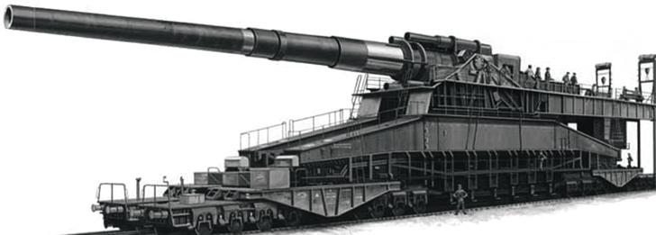 Промышленный магнат Альфред Крупп построил самое крупнокалиберное вмире орудие, ставшее знаменитым под неофициальным именем «Дора». Снаряд калибра 813 мм весил 7100 кг.