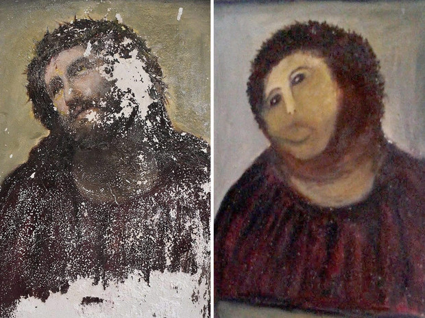 Фото №2 - Пушистый Иисус, Губка Боб, перекошенная нимфа и еще 10 примеров неудачной реставрации
